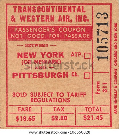 Transcontinental and Western Air New York to Pittsburgh USA Circa 1950