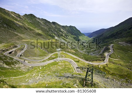 Transfagarasan highway - wide angle view of one of the best driving roads in the world