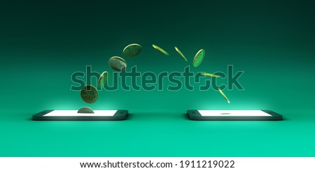Transfer Money on Mobile Smartphone as an Electronic Transaction 3d Render
