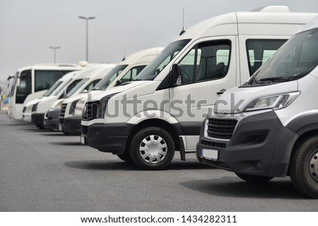 transfer shuttles and buses on parked in row ストックフォト ©