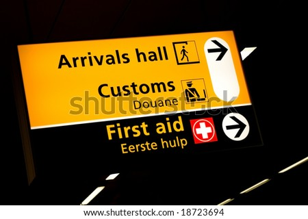 Transfer sign at the gates of Schiphol airport Amsterdam