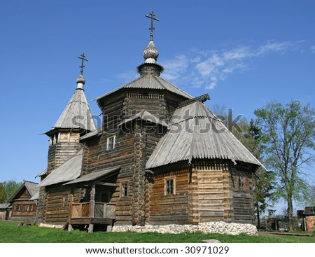 Transfiguration Church from village Kozliatyevo (1756), Museum of Wooden Architecture, Suzdal. Golden Ring, Russia