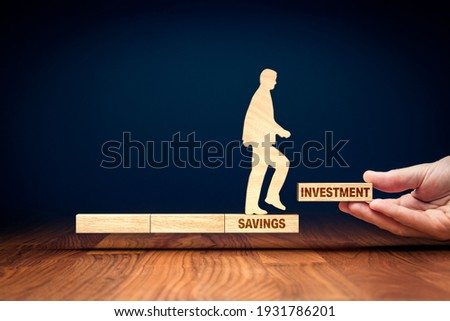 Transform savings to investment concept. Business and financial person motivate conservative investor to do step to change savings to investment to growth of capital and asset. Stock photo ©