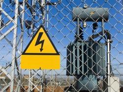 Transformer. High power station. High voltage