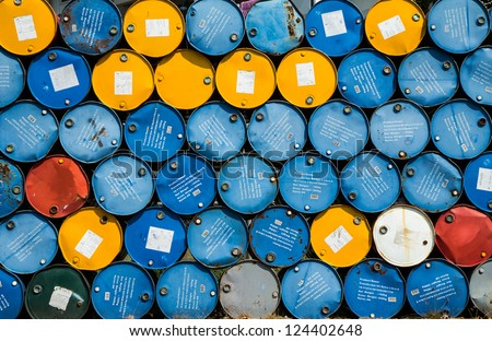 Transformer oil tanks stacked in a row