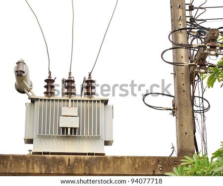 transformer on high power station. High voltage