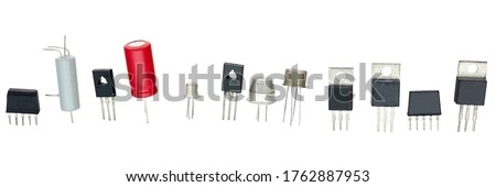 transistors different type and other radio components on a white background Stok fotoğraf ©
