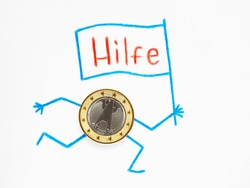 Translation of the word: help. A 1 euro coin lies on a sheet of white paper. Hands and feet are drawn with pencil, runs with flag on which the word help is written in German. State support in Germany