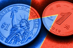 Translation: People's Bank of China, one yuan. 1 American dollar and 1 Chinese yuan coins. Blue and red tinted illustration on the theme of economic rivalry between the United States and China. Macro