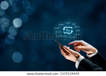 Translator app, language course and e-learning concept. Person with smart phone, symbol of translation (speech bubble with arrows and abstract text) and top ten internet users languages. #1159124434
