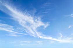 Translucent airy cirrus clouds high in a blue sky. Cloud species and varieties. Atmospheric phenomena. Skyscape on a sunny day. Beauty in nature.