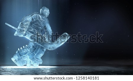 translucent ise sculpture of ice hockey goalie in dinamic pose with dramatic light and dust particles in the air. hockey legend, competition, winner concept background 3d render