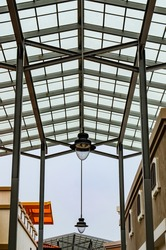 Translucent roof or skylight roof of shopping center, Thailand.