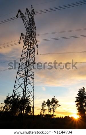 Transmission line on the sunset.