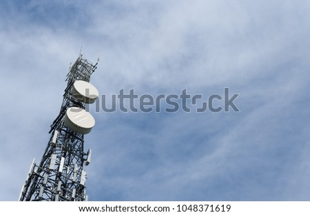 Transmission tower on sunny summer day
