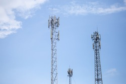 transmitter atop a cell phone pole About to be upgraded from 4g to 5g. High-risk electrical engineer job in Thailand.