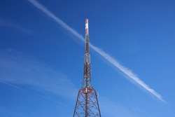 Transmitter tower general view and sky