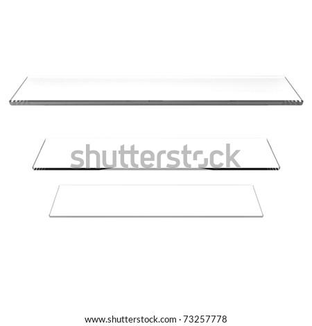Transpanent glass shelfs on white background
