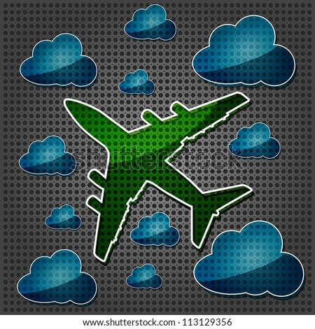 transparency Four-engine jet airliners in the air with blue cloud computing icon on the metallic background