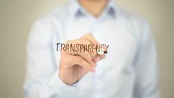Transparency,  Man writing on transparent screen