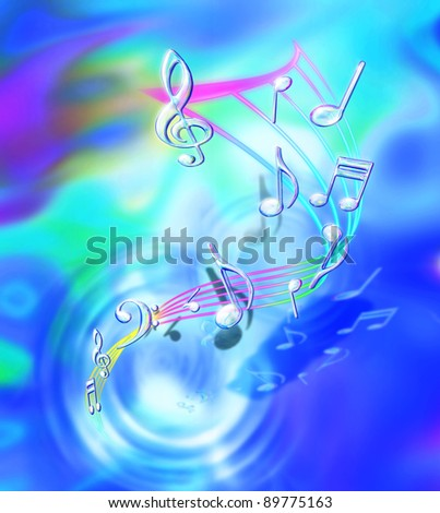 transparency music notes in fantasy rippling background