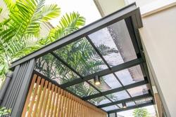 Transparent acrylic roof sheet close-up