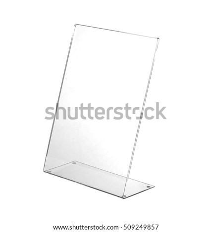 Transparent acrylic table stand display for menu in isolated white background #509249857