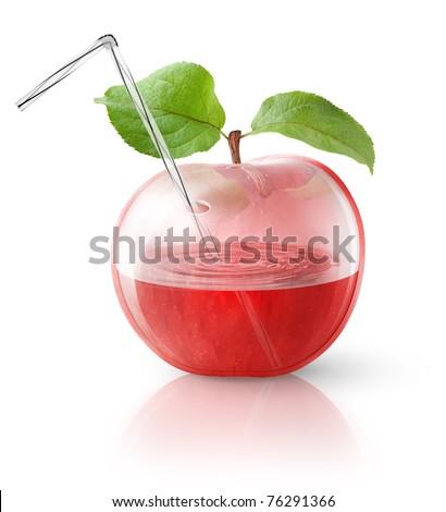 Transparent apple, concept image for fresh apple juice