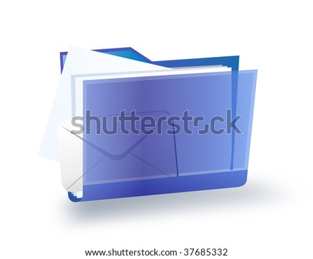 transparent blue folder with the documents