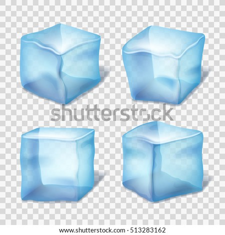 Transparent blue ice cubes in plaid background. Realistic ice in cube form, collection of transparent piece of ice. illustration