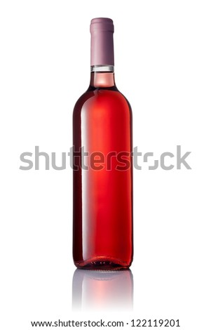 transparent bottle with pink wine isolated on white background
