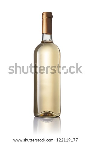 transparent bottle with white wine isolated on white background