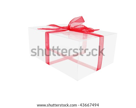 transparent box with red ribbon