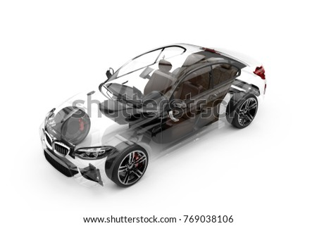 Transparent car on a white background: 3D rendering