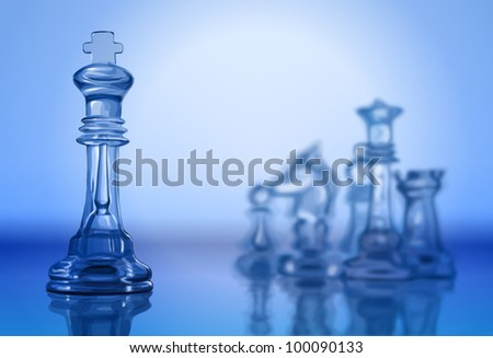 Transparent chess pieces on the mirror surface and a blue background. Bitmap copy my vector