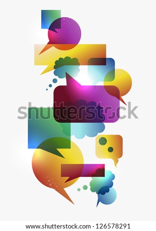 Transparent colorful communication speech bubbles set isolated over white background.
