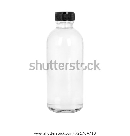 Transparent cosmetic or medicine bottle on white  #721784713