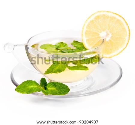 Transparent cup of a herbal mint  tea
