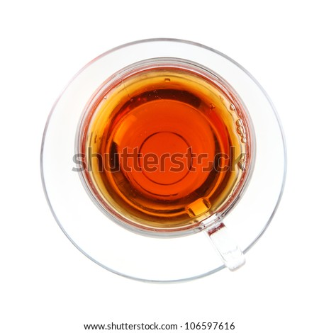 Transparent cup of tea isolated on white background