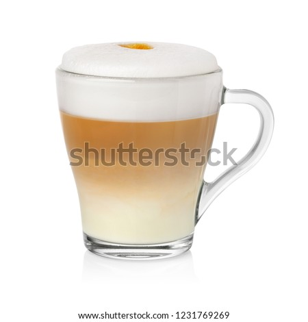 Transparent cup with cappuccino coffe and milk foam isolated on white background #1231769269