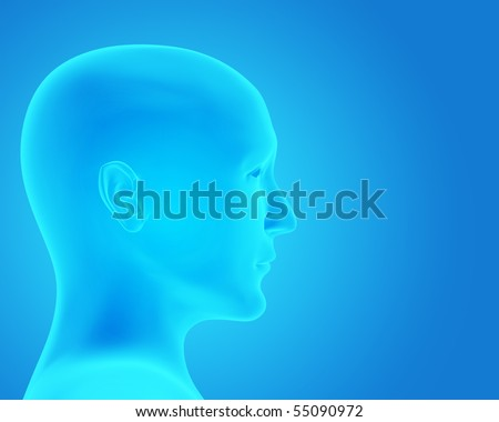 Transparent 3d head - x-ray