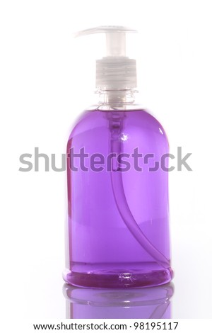 Transparent detergent bottle over white background