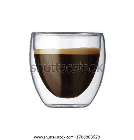 Transparent double bottom cup and coffee isolated on white background