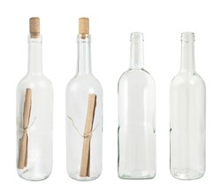 Transparent glass bottle isolated over white background, set of four, with the message and empty