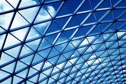 Transparent glass ceiling subway station