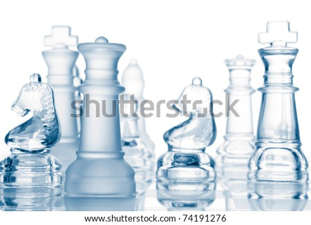 transparent glass chess isolated on white background