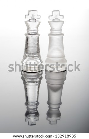 transparent glass chess kings
