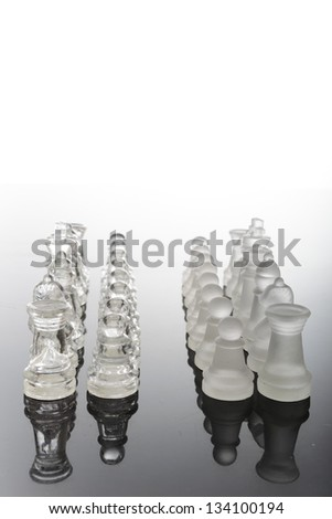 transparent glass chess pieces