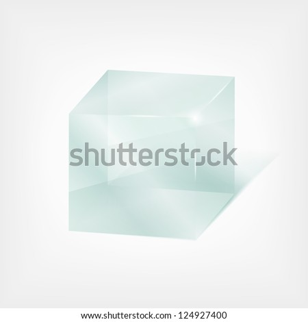Transparent glass cube - stock photo