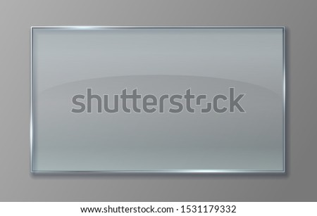 Transparent glass panel. Clear plastic sheet with glossy effect, isolated acrylic banner plate.  3D transparent glass sign